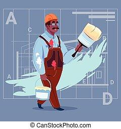 Cartoon African American Painter Hold Paint Brush Decorator...