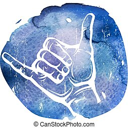 Shaka hand sign on the watercolor background