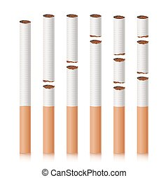 Broken Cigarettes Set Vector. Smoking Kills. Quit Smoking Concept. World No Tobacco Day. Realistic Close-up Illustration. Isolated