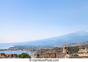 blue sky over Mount Etna and Ionian sea coast - travel to...