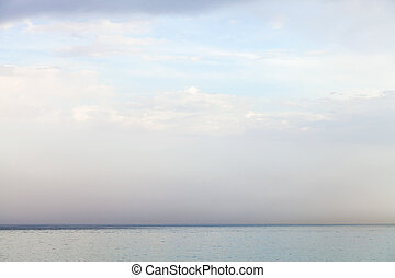blue sky with white clouds over Ionian Sea - travel to...