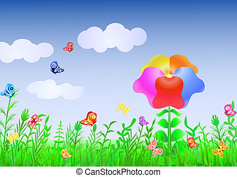 Magic Meadow_3 - Illustration of a beautiful meadow with a...