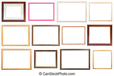 set of various modern wooden picture frames