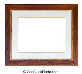 wide brown wooden picture frame with passepartout and cut...
