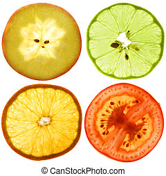 Translucent slices of an fruits - Translucent cut of a ripe...