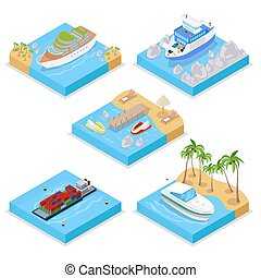 Isometric Water Transportation Set with Cruise and...