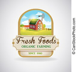Label with the image of a farm - Vector format label with...