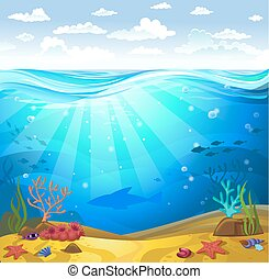 Underwater- Seabed with corals - Vectorial illustration of...