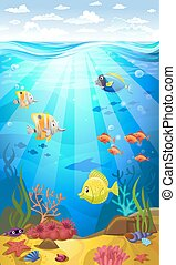 Seabed with corals - Vectorial illustration of a seabed with...