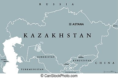 Kazakhstan political map with capital Astana. Republic....