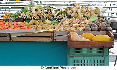 Root Vegetables - Organic Produce Food at Farmers Market...