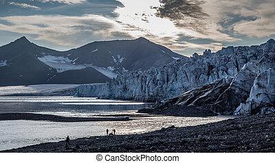 Front of glacier at dusk
