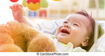 嬰孩, 男孩, 他的, 玩, 玩具