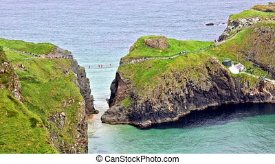 panoramic view of the Carrick-a-Rede Rope Bridge and...