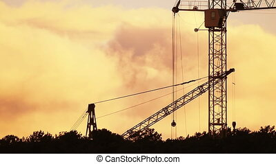 Timelapse of the construction site during sunset