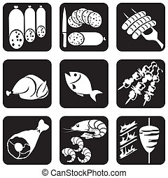 icons food (part 1) - set of vector silhouettes of icons on...