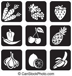 icons food part 4 - set of vector silhouettes of icons on...