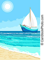 Summer landscape with sailboat background