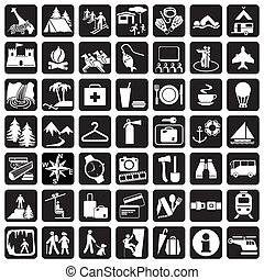icons travel - vector set icons. Items and signs for travel...