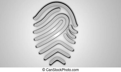 3D fingerprint on white background. Digital backdrop