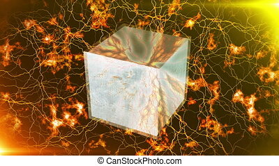 """3d cube rotates in glowing high energy lightning. "" - ""3d..."