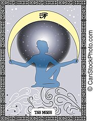 the moon card - the illustration - card for tarot - the...