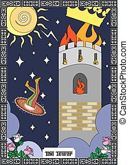 the tower card - the illustration - card for tarot - the...