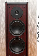 Acoustic wooden sound system with three speakers. - Acoustic...