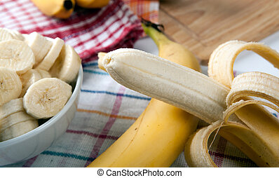 still life of fresh bananas - Slices of fresh bananas in a...