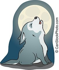 cute little howling wolf - Hand drawn picture of a cute...