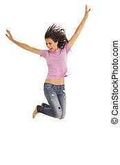 Young excited woman jumping - Cute young girl with jeans...