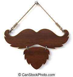 barbershop - Wooden sign with mustache and beard for...