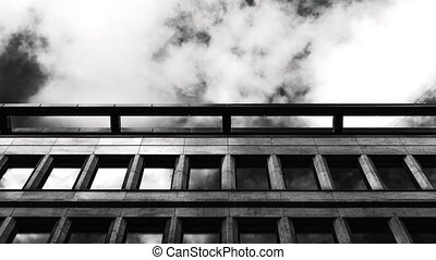 Timelaps of modern office at downtown. Timelapse. BW shot.
