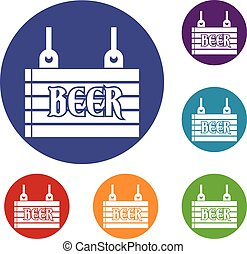 Street signboard of beer icons set