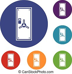 Safe door icons set in flat circle reb, blue and green color...