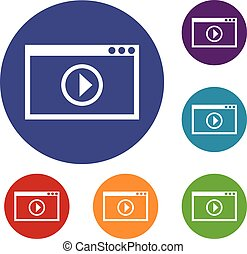 Program for video playback icons set in flat circle reb,...