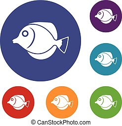 Tang fish, Zebrasoma flavescens icons set in flat circle...