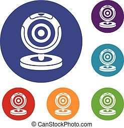 Webcam icons set in flat circle reb, blue and green color...