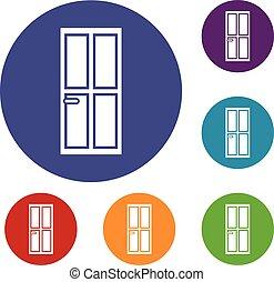 Closed wooden door icons set