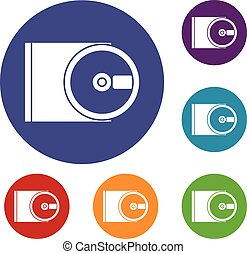 DVD drive open icons set in flat circle reb, blue and green...