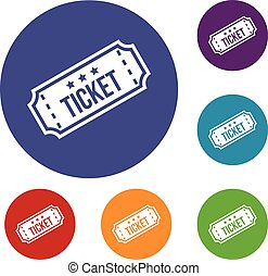 Movie ticket icons set in flat circle reb, blue and green...