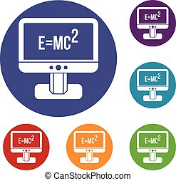 Monitor with Einstein formula icons set in flat circle reb,...
