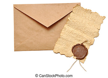 envelope and old paper isolated on a white background