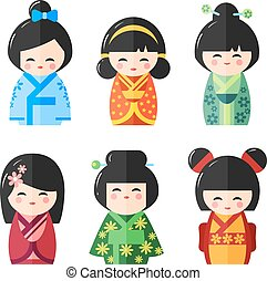 Japanese Kokeshi Dolls, vector icons - Japanese Kokeshi...