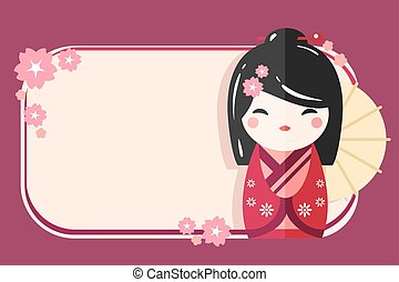 Greeting Card Template with Japanese Kokeshi Doll icon....