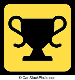 yellow, black information sign - sports cup icon