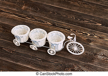 Tricycle flower basket. Tiny wicker baskets with bows.