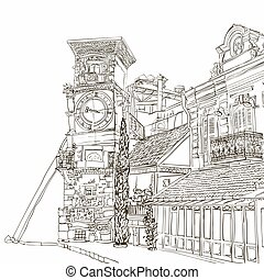 Tbilisi, Georgia, a sketch of a curve tower with a clock and...