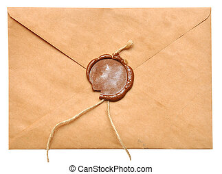 sealed envelope - sealed brown envelope isolated on white...