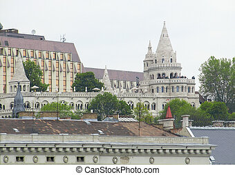 Fishermans Bastion in Budapest - scenery around the...